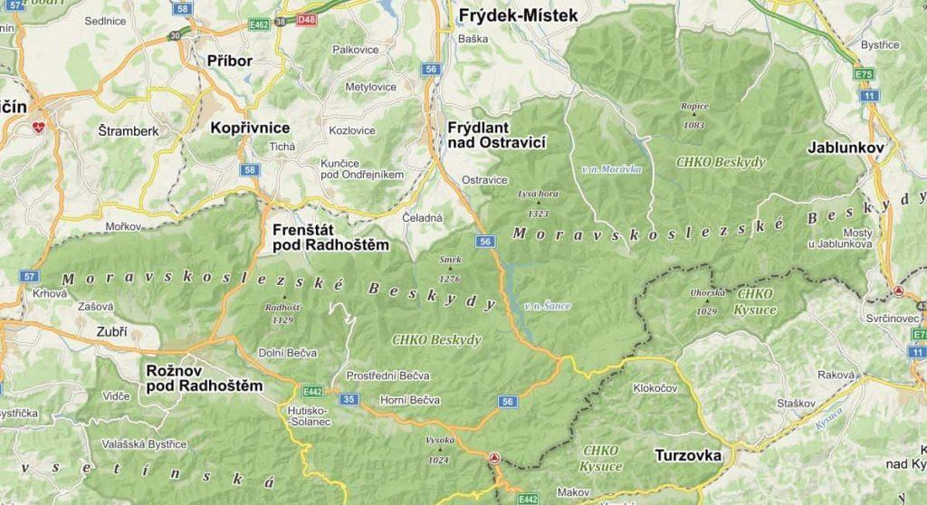 Moravskoslezské Beskydy - turistická mapa