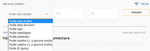 Datová schránka - otevření filtru seznamu